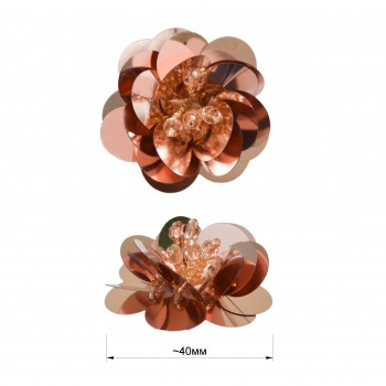 Аппликация пришивная c пайетками,  Цветок , цвет бежево-розовый