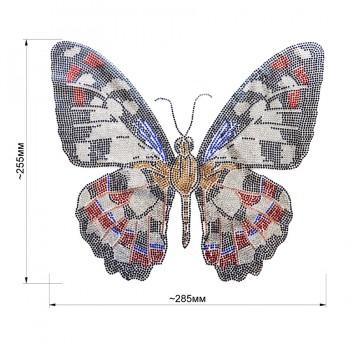 Аппликация клеевая из страз,  Бабочка , цвет черный+белый+красный