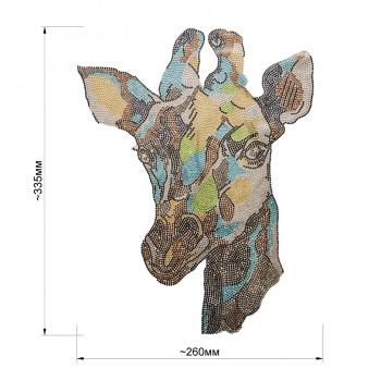 Аппликация клеевая из страз,  Жираф , цвет коричневый+желтый+голубой