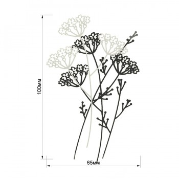Аппликация клеевая, резина,   Цветы , цвет черный+белый