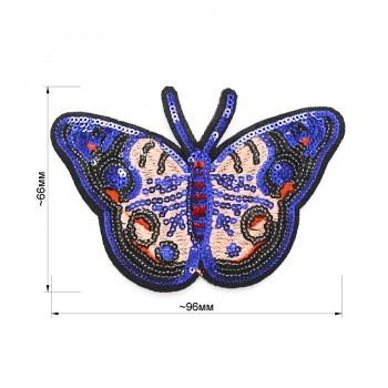 Аппликация пришивная c пайетками, текстиль,  Бабочка , цвет бежевый+синий