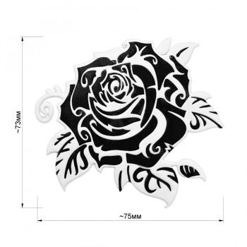 Аппликация клеевая, резина,   Роза , цвет черный+белый