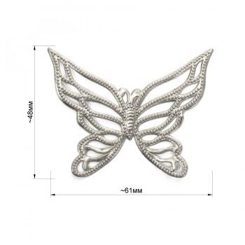 Аппликация клеевая, резина,   Бабочка , цвет серебро