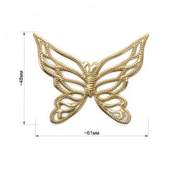 Аппликация клеевая, резина,   Бабочка , цвет матовое золото