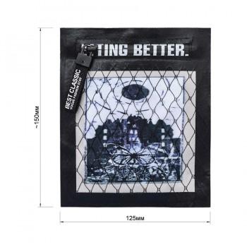 Аппликация пришивная - карман, цвет черный+белый