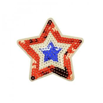 Аппликация клеевая с пайетками,  Звезда , цвет синий+белый+красный