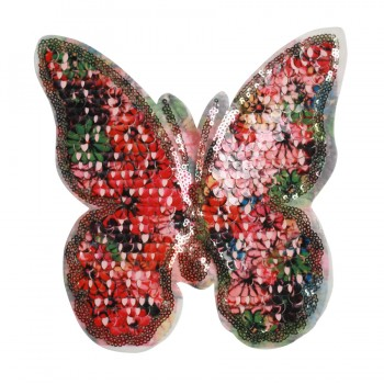 Аппликация пришивная с пайетками, бабочка, цвет черный+разноцветный