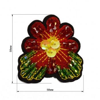 Аппликация пришивная,  Цветок , цвет разноцветный