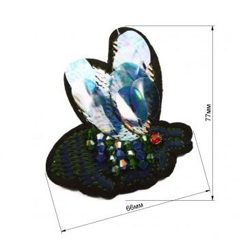 Аппликация пришивная,   Гусеница , цвет зеленый+т.синий
