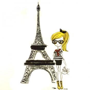 Аппликация клеевая, принт,  Девочка Парижанка