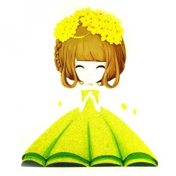 Аппликация клеевая,, принт,  Девочка с желтыми цветами