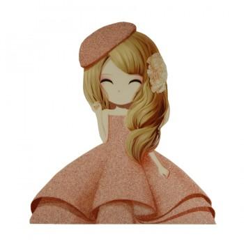 Аппликация клеевая, принт,  Девочка в шляпке