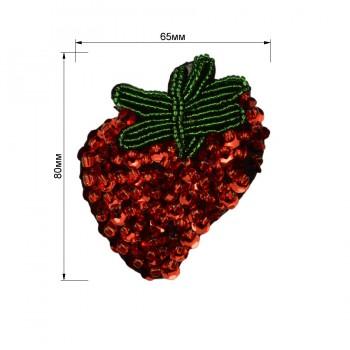 Аппликация пришивная  Клубника , цвет красный+зеленый