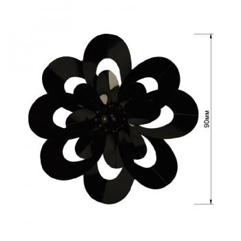 Аппликация пришивная,   Цветок , цвет черный