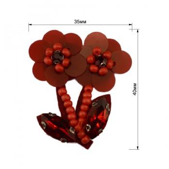 Аппликация пришивная  цветы , цвет красный