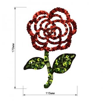 Аппликация пришивная с бисером и пайетками,   Роза , цвет красный+зеленый