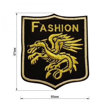 Аппликация клеевая, вышивка текстильная, дракон, цвет золото