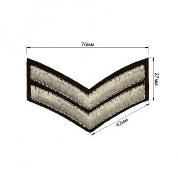 Аппликация клеевая, вышивка текстильная, две лычки, цвет серебро