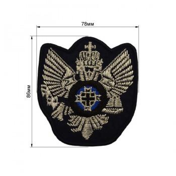 Аппликация клеевая, вышивка текстильная, герб, цвет серебро