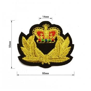 Аппликация клеевая, вышивка текстильная, герб, цвет золото