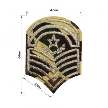 Аппликация клеевая, вышивка текстильная, звезда с лычками, цвет серебро