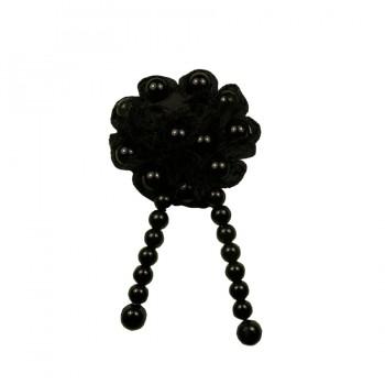 Аппликация пришивная, текстиль, цветок с жемчугом, цвет черный