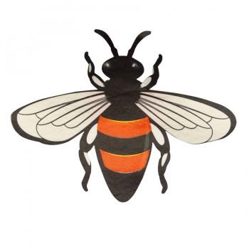 Аппликация клеевая, текстиль,  пчелка