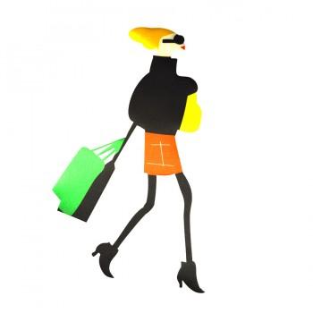 Аппликация клеевая, текстиль,  Дама с сумкой