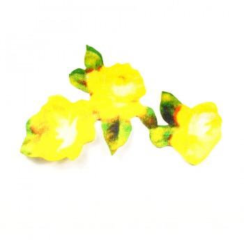 Аппликация клеевая, сатин,  Три цветка , цвет желтый
