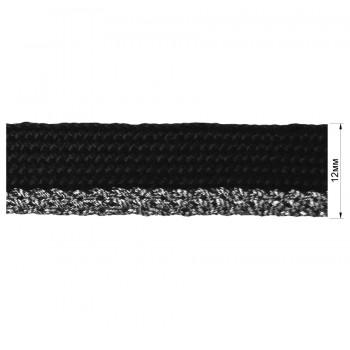 Кант декоративный, цвет черный+серебро
