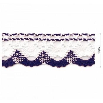 Кружево хлопчато-бумажное, цвет белый+синий