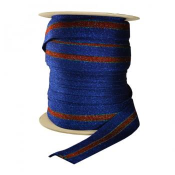 Лента отделочная с люрексом, цвет  синий+красный