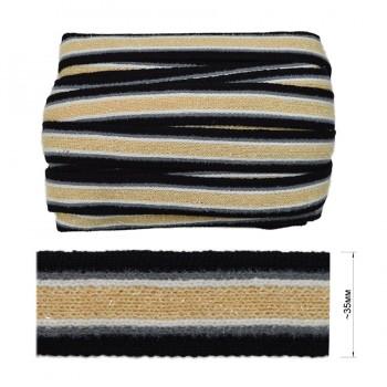 Тесьма отделочная с люрексом, цвет черный+серый+белый+бежевый