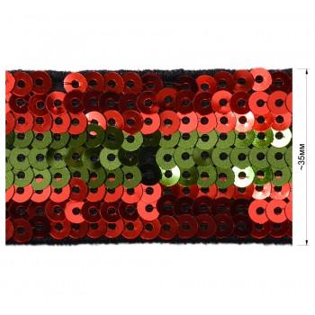 Тесьма отделочная c пайетками, цвет красный+зеленый