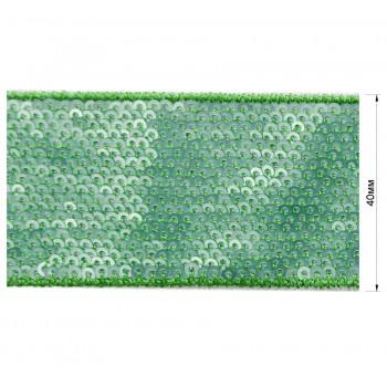 Тесьма отделочная c пайетками, цвет зеленый