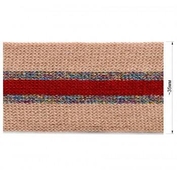 Тесьма отделочная с люрексом, цвет бежевый+красный