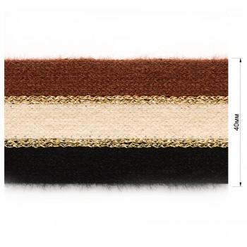 Тесьма отделочная с люрексом, цвет черный+бежевый+коричневый