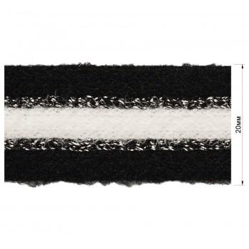 Тесьма отделочная с люрексом, цвет черный+белый