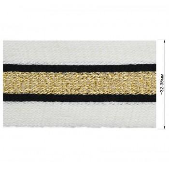 Тесьма отделочная c люрексом, цвет белый+черный+золото