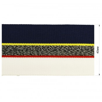 Тесьма отделочная, цвет белый+серый+ темно-синий