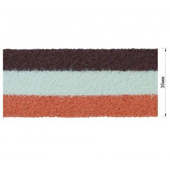 Тесьма отделочная войлочная, цвет коричневый+бежевый+оранжевый