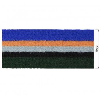 Тесьма отделочная войлочная, цвет синий+оранжевый+серый+черный+зеленый
