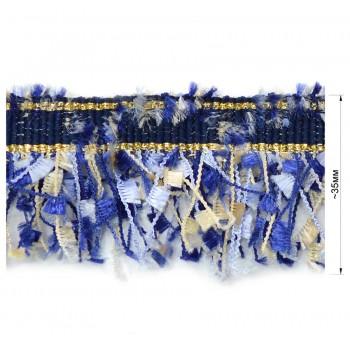 Тесьма декоративная с бахромой , цвет т.синий+бежевый+голубой
