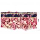Тесьма декоративная с бахромой , цвет т.синий+бежевый+розовый