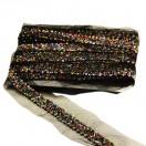 Тесьма декоративная из бисера, цвет черный+разноцветный