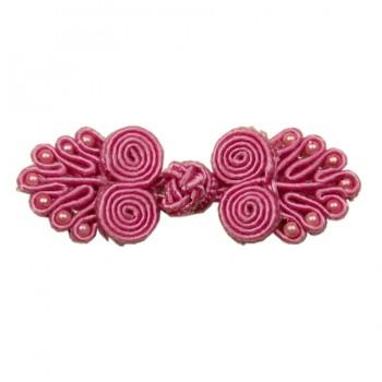 Декоративная застежка, клевант текстильный, цвет т.розовый