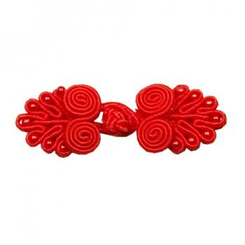 Декоративная застежка, клевант текстильный, цвет красный