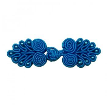 Декоративная застежка, клевант текстильный, цвет синий