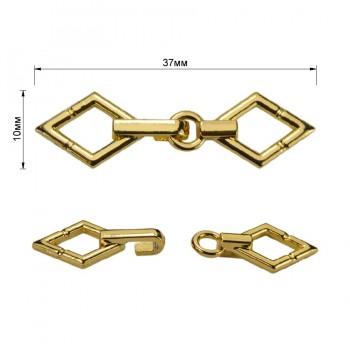 Декоративная застежка, крючок металлический, 10*37мм, цвет золото