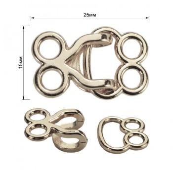 Декоративная застежка, крючок металлический, 15*25мм, цвет никель